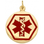 14k Yellow Medic Aid Medallion: 18.5mm