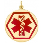 14k Yellow Medic Aid Medallion: 25.2mm