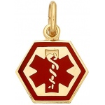 14k Yellow Medic Aid Medallion: 9.3mm x 0.030""
