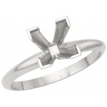 Platinum 1.50ct Princess-Cut Solitaire Mounting V-Prong: Finger Size 7.0