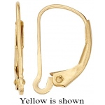 14k Gold Plain Lever Back: White