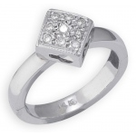 14k White Gold Diamond Shape with Diamond Toe Ring: Size 1.5