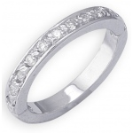 14k White Gold Eternity Diamond Toe Ring: Size 3.25