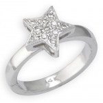 14k White Gold Star Shape Toe Ring with Diamond: Size 3.50