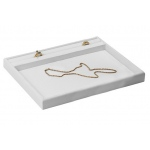 "All White Faux Leather Presentation Tray: 10.5"" W x 8.65"" D x 1"" H"