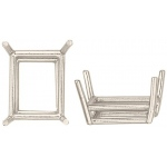 14k White Emerald Cut Double Wire Setting: 8.0mm x 6.0mm