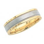 14K Gold 2-Tone Wedding Band with Brushed & Milgrain Center 6mm: Size 6.5