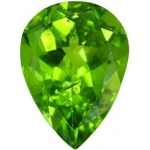 Pear Shape Synthetic Peridot: 13.0mm x 9.0mm, 3.50cts