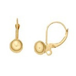 Lever Back with 3mm Ball & Open Ring: 18K Yellow