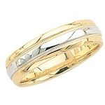 14K Gold 2-Tone Wedding Band with Milgrain Center 6mm: Size 7
