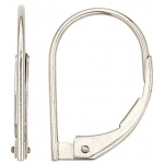 14k White Plain Lever Back