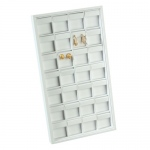 28-Clip Earring Tray: White Leather