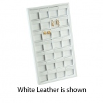28-Clip Earring Tray: Off White Leather