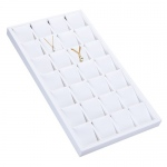 28-Earring/Pendant Display: White Leather