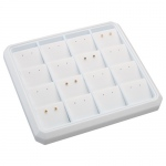 16-Stud Earring Stackable Tray: White Leather