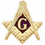 14k Yellow Masonic Emblem With Tube: 10.0 x 9.5mm
