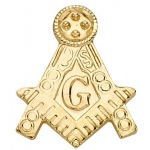 14k Yellow Masonic Emblem With Tube: 1 Settings
