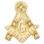 14k Yellow Masonic Emblem With Tube: 3 Settings