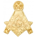 14k Yellow Masonic Emblem With Tube: 5 Settings