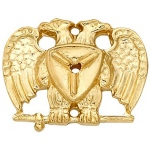 14k Yellow Masonic Emblem With Tube: 16.70mm x 13.00mm