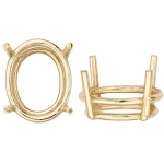 14k Yellow 4-Prong Oval Double Wire Setting: Size 6.75mm x 4.75mm