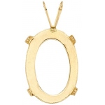14k Yellow Oval Flat Open Back Pendant: 4.0 x 10.0mm