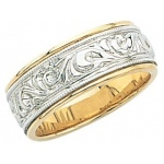 14K 2-Tone Wedding Band with Design 8mm: Size 6.5