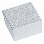 "Cotton Filled Silver Box: 3.5"" x 3.5"" x 2"""