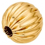 Straight Corrugated Round Bead: 14K Yellow, 9.0 mm Size