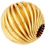 Twisted Corrugated Round Bead: 14K Yellow, 7.0 mm Size