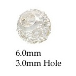 Cubic Zirconia Round Bead: Silver, 6.0 mm Size