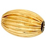 Straight Corrugated Oval Bead: 14K Yellow, 11.40 mm x 5.9 mm Size