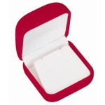 Flocked Earring Box: Red