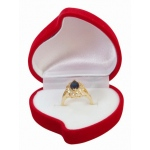 Red Flocked Heart Ring Box with Flower