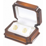 "3.5"" x 3"" Earring Box: Mahogany/White"