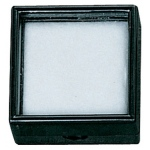 "Black Glass Top Gem Box (Cotton): 1.5"" x 1.5"", Pakc of 12"