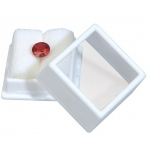 "White Glass Top Gem Box: 1"" x 1"", Pack of 12"