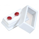 "White Glass Top Gem Box: 2"" x 1"", Pack of 12"