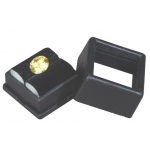 "Black Glass Top Gem Box: 1"" x 1"", Pack of 12"