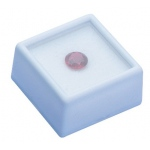 "White Glass Top Gem Box, Reversible Insert (Foam): 1"" x 1"", Pack of 12"