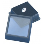 "Black Glass Top Gem Box, Reversible Insert (Foam): 1"" x 1"", Pack of 12"