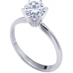 18k White 6-Prong Moissanite Engagement Solitaire: 8.0mm, 2.00ct