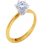 14k 2-Tone 6 Prong Moissanite Engagement Solitaire: 5.0mm, 0.50ct, Size 4