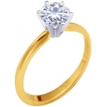 14k 2-Tone 6 Prong Moissanite Engagement Solitaire: 6.0mm, 0.75ct, Size 4