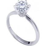 14k White 6-Prongs Moissanite Engagement Solitaire: 2.00ct/8.0mm, Size 7.5