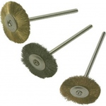 "Mounted Metal Wheels: 3/4"" Diameter, Straight Brass Wire, Pack of 6"