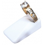 Mini Ring Stand: White Leather, Pack of 12