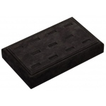 "11 Ring Slot Tray: Black Suede, 9"" x 5.5"""