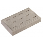 "11 Ring Slot Tray: Gray Suede, 9"" x 5.5"""