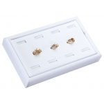 "11 Ring Slot Tray: White Leather, 9"" x 5.5"""